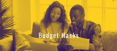 Budget Hacks Presentation Title Slide with brain icon