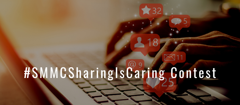 Keyboard and hands with images of social media icons placed above keyboard with text: #SMMCSharingIsCaring Contest