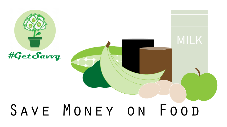 Title slide for How to Save Money on Food with icons of groceries like milk, corn, cans, eggs, etc.