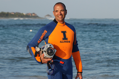 Viktor Gruev in scuba suit