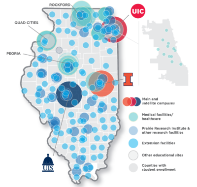 Map of System entities across Illinois