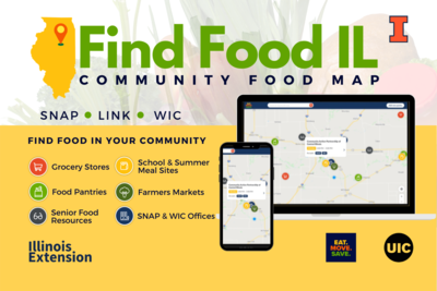 Find Food IL map flier with screenshots