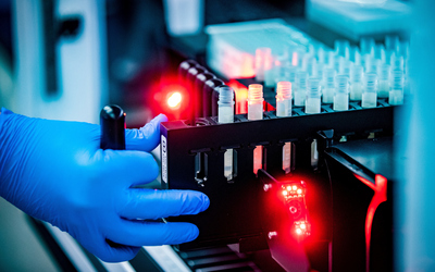 COVID test processing in lab