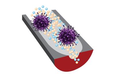 purple spiky virus on top of gray detector (artist's rendering)