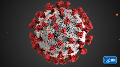 red spiky ball rendering of COVID molecule